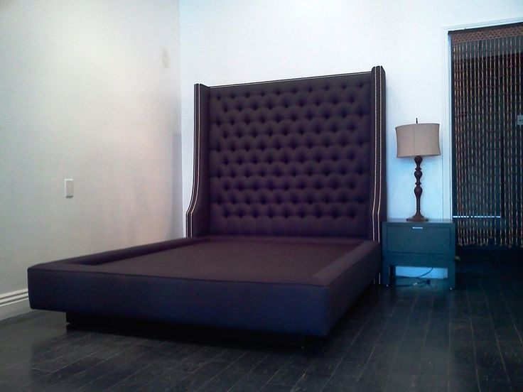 Custom Queen Bed With Extra Tall Diamond Tufted Headboard