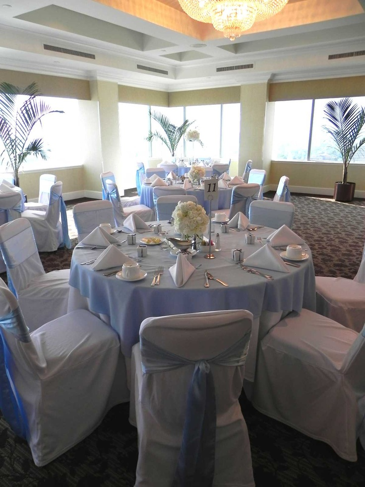 Light Blue wedding....light blue tablecloth with white