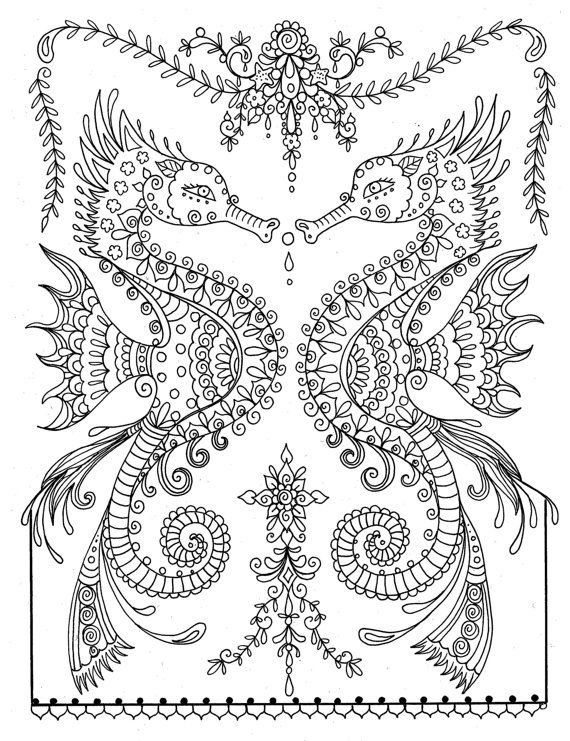 Printable Sea Horse Coloring Page Instant Download Adult