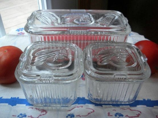 Vintage Refrigerator Dish Set Of 3 Clear Ribbed Glass