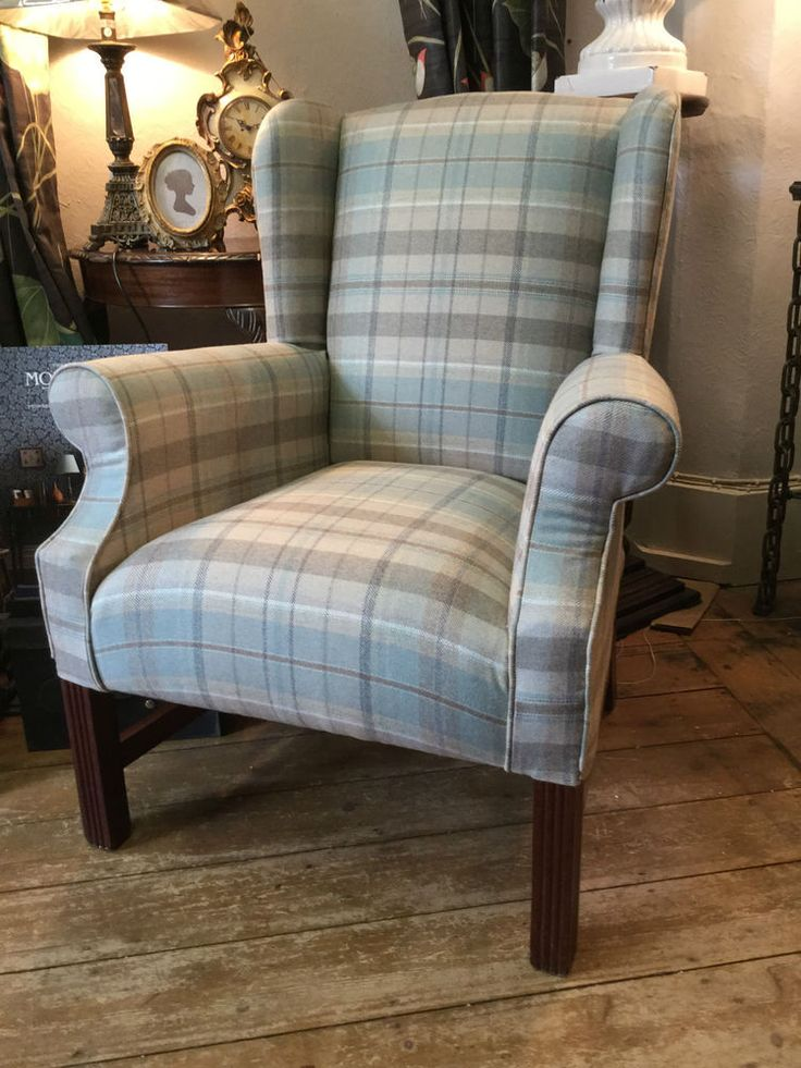 Sandersons Fire Side/Wing Back Chair In Finest Wool Check