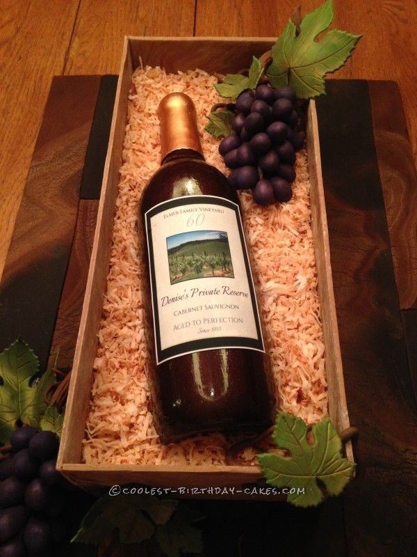 Classy Wine Bottle Cake For A 60th Birthday Classy