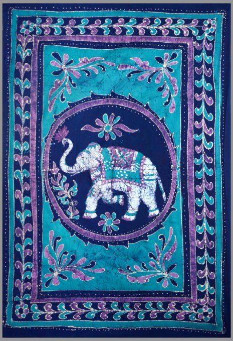 Good Luck White Elephant Batik Tapestry Twin Amp Full Sizes Available 100 Cotton BluePurple