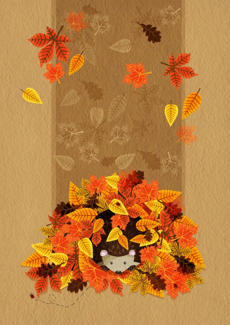 Autumn Leaves With A Little Hedgehog Hiding Within The