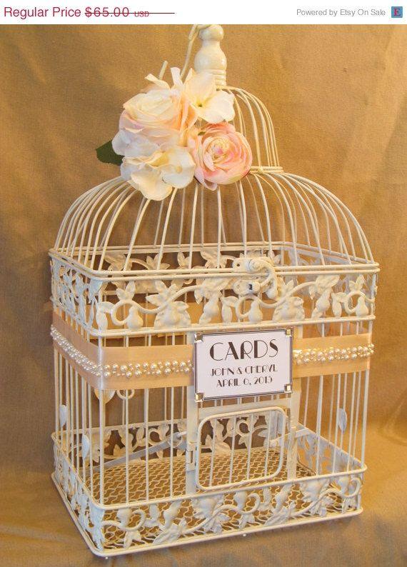 On Sale Vintage Style Wedding Card Box Pearls Bird