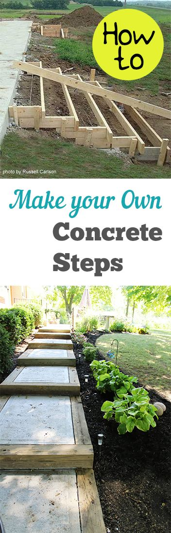 How to Make Your Own Concrete Steps. Projects and tutorials for making cement steps for your outdoor space
