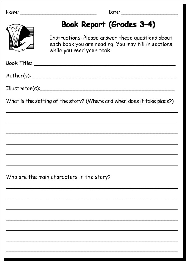 Book Report 3 & 4 Practice Writing Worksheet for 3rd and