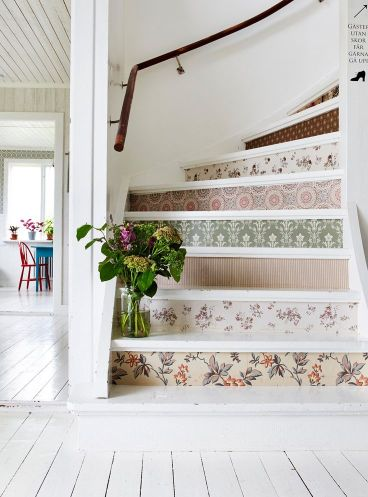 Image result for geometric wallpapered stairs