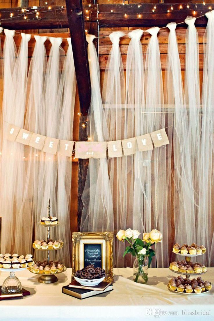 Easy DIY tulle buffet backdrop wedding decoration. DIY