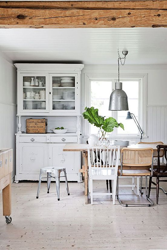 I love, love, love this kitchen - white with authentic wooden beams and pieces of furniture