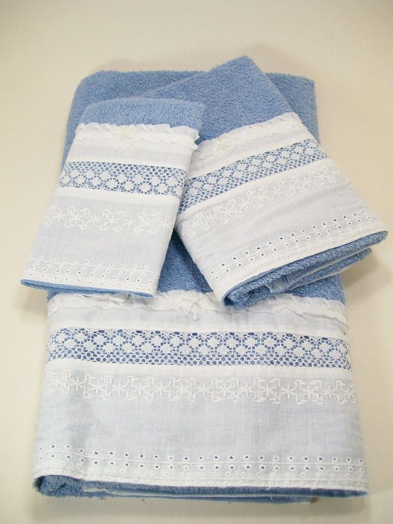 Bath Guest Towels Hostess Hand Embellished Blue White Eyelet Lace Towels Lace Ruffle And Ruffles
