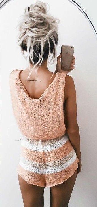 Tangerine Knit Romper