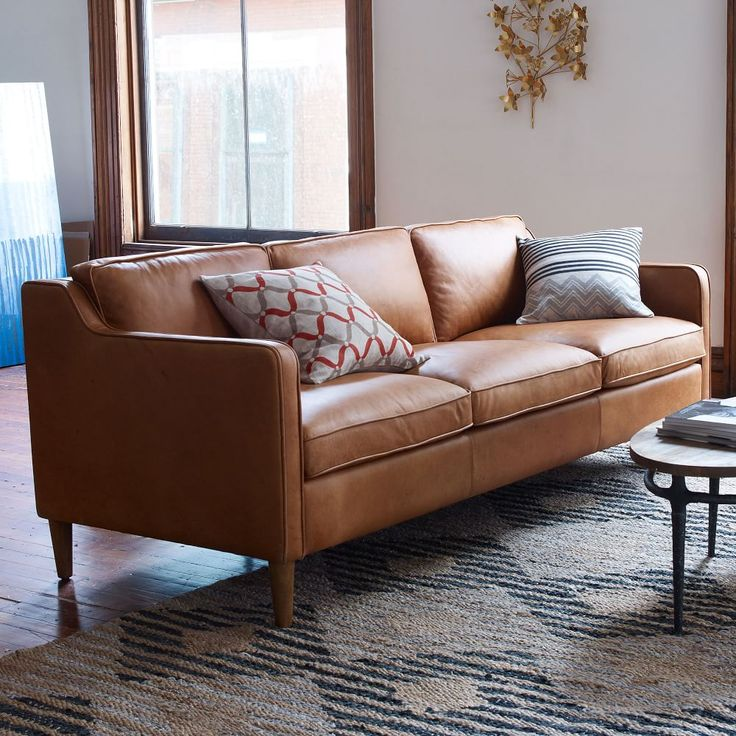 Hamilton Leather Sofa west elm Family Room Pinterest