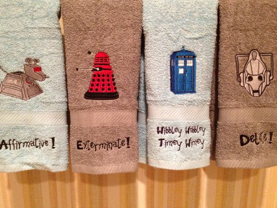 Custom Embroidered Doctor Who Bathroom Hand Towel On Etsy