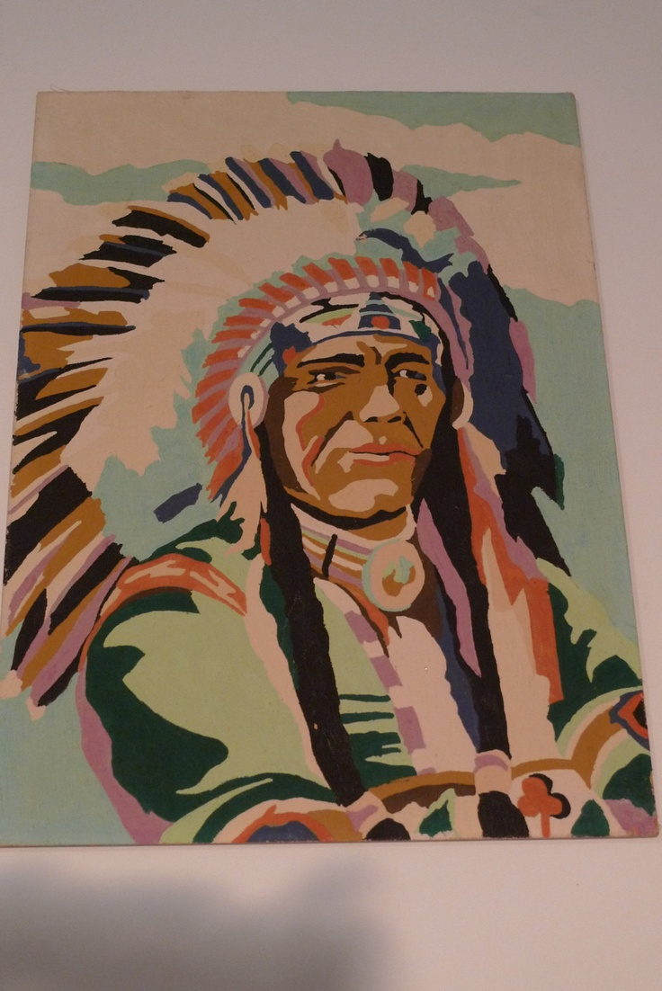 Vintage Paint By Numbers Painting Indian Chief Native