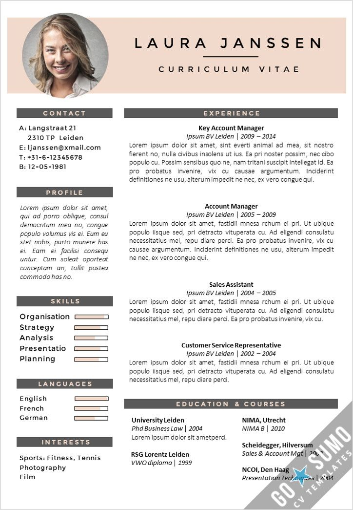 Creative cv template. Fully editable in Word and