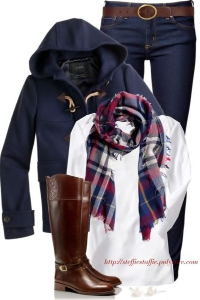 Cognac, Navy, Plaid, & White