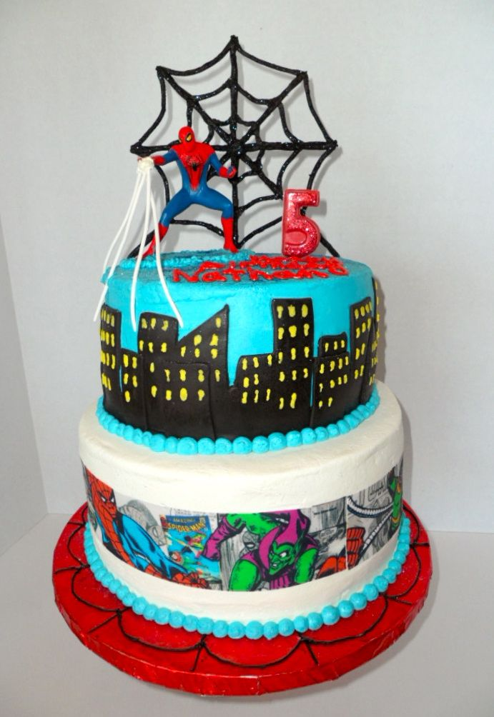 Two Tier Spiderman Birthday Cake Decorations Are Made Out