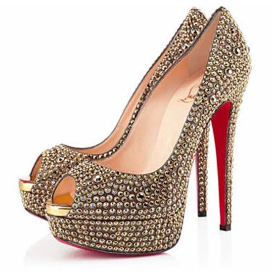 Christian Louboutin Lady Peep Strass Peep Toe Pumps Gold