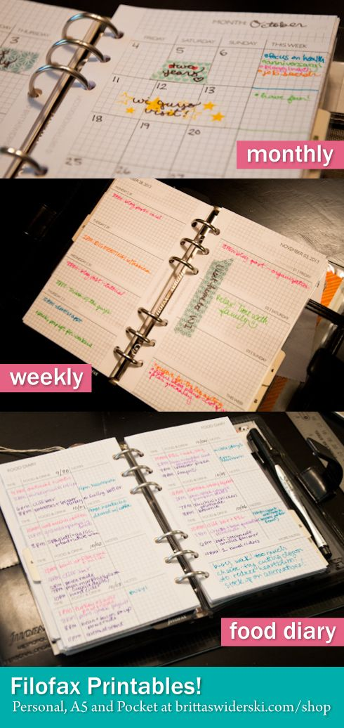 Filofax love – Weekly, Monthly and Food Diary Printables by Britta Swiderski