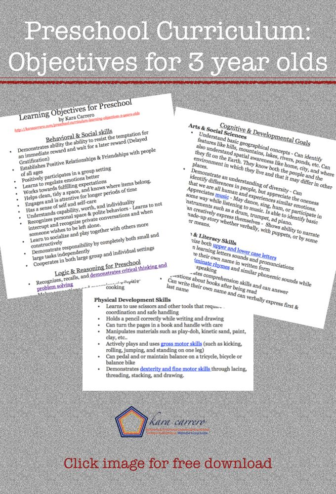 Preschool Curriculum Amp Learning Objectives For 3 Amp 4 Year