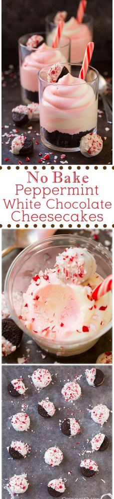 No Bake Peppermint White Chocolate Cheesecakes (with White Chocolate Peppermint Dipped Mini Oreos) - these are AMAZING!! Easy to make and they have the perfect texture and flavor.: