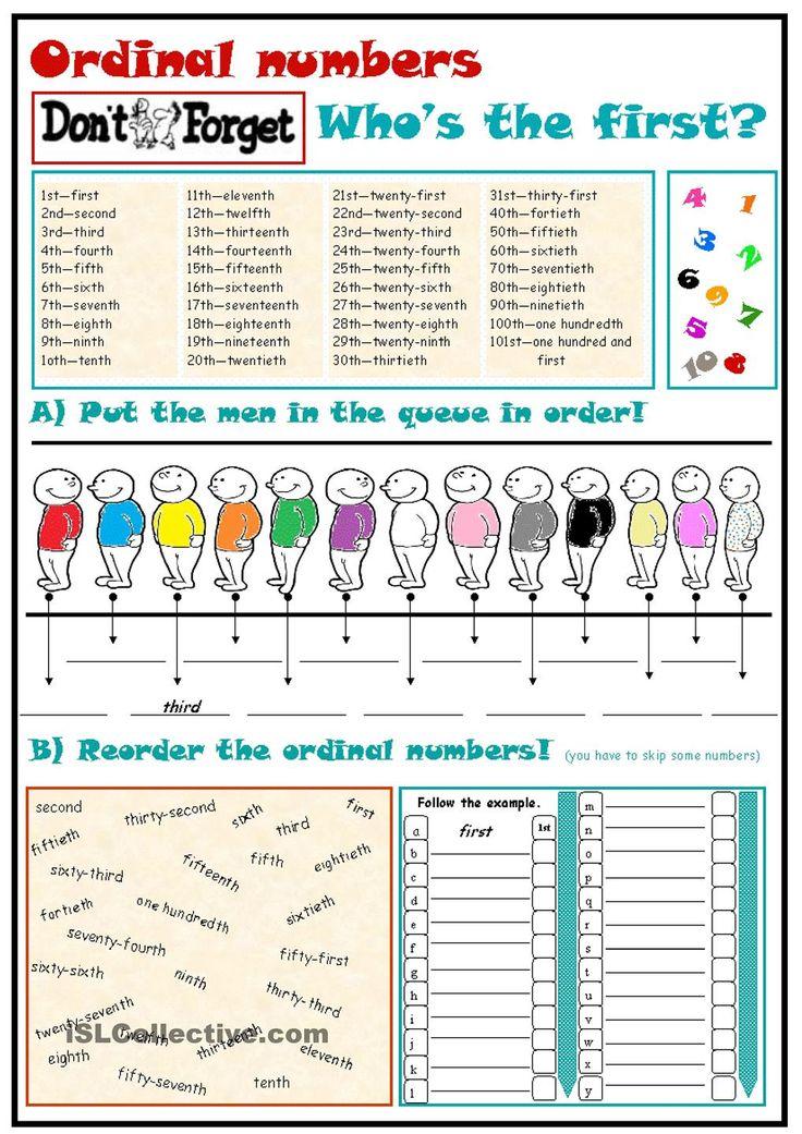 Ordinal numbers English Pinterest Ordinal numbers