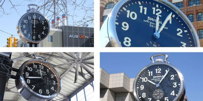 All Four Shinola Clocks Across Detroit