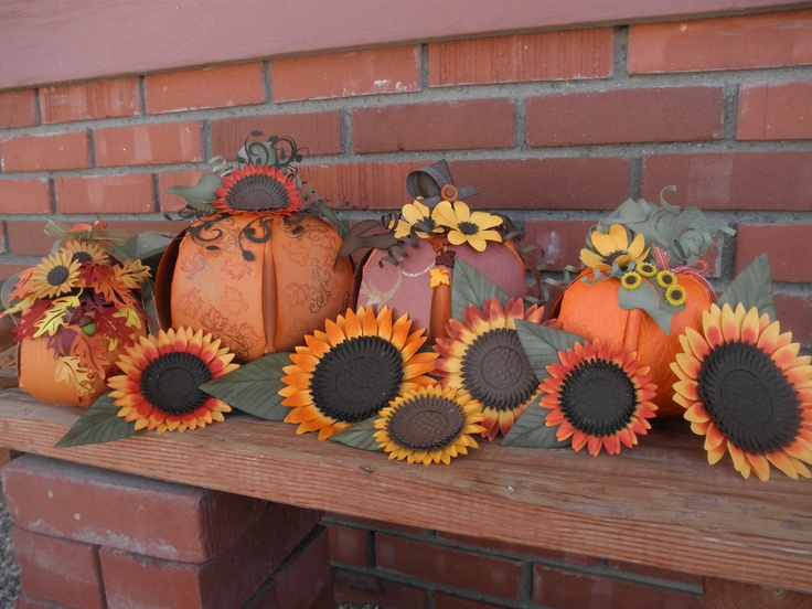 Some of my pumpkins and sunflowers I made using pick a