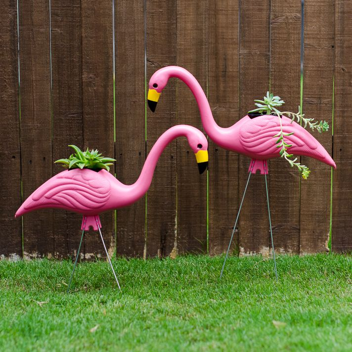 Cute And EASY Yard Art Idea Make Flamingo Planters From