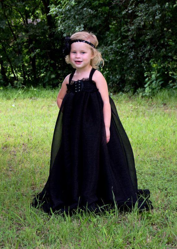 Gothic Style Flower Girl Dress Black Lace Chiffon Toddler