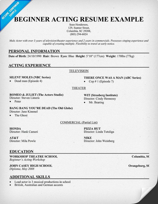 resume acting resume template and resume templates on pinterest