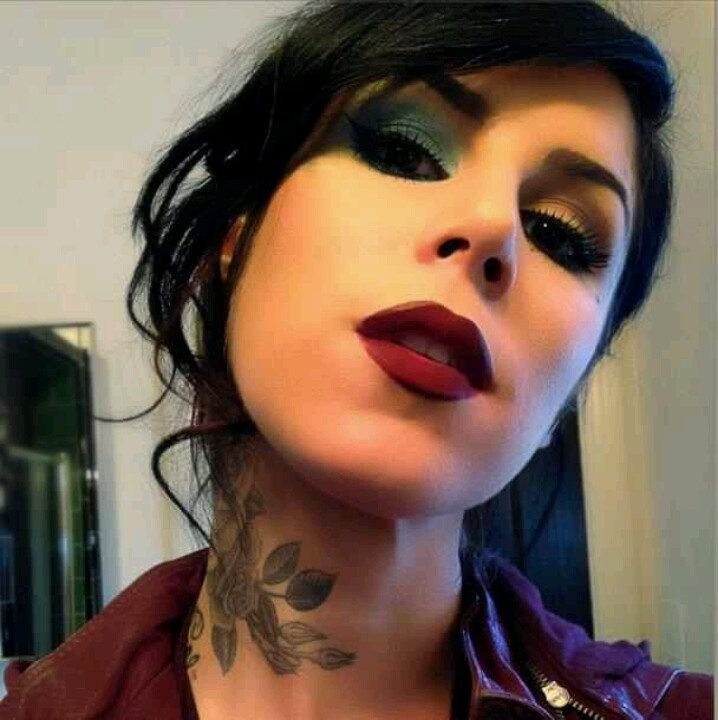 Kat Von D makeup! her lipstick.. neck tattoo.. eyeshadow