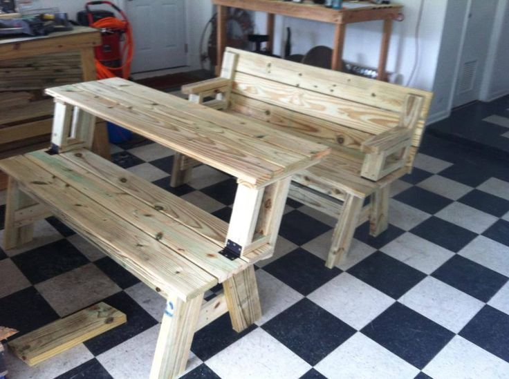 Convertible Bench Picnic Table Diy Crafts Pinterest