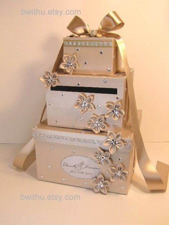 Champagne Wedding Card Box Gift Card Box Money Box Holder-Customize your color. $115.00, via Etsy.:
