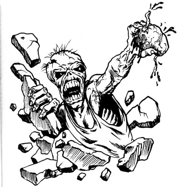 Image detail for Eddie iron maiden and heart tattoo