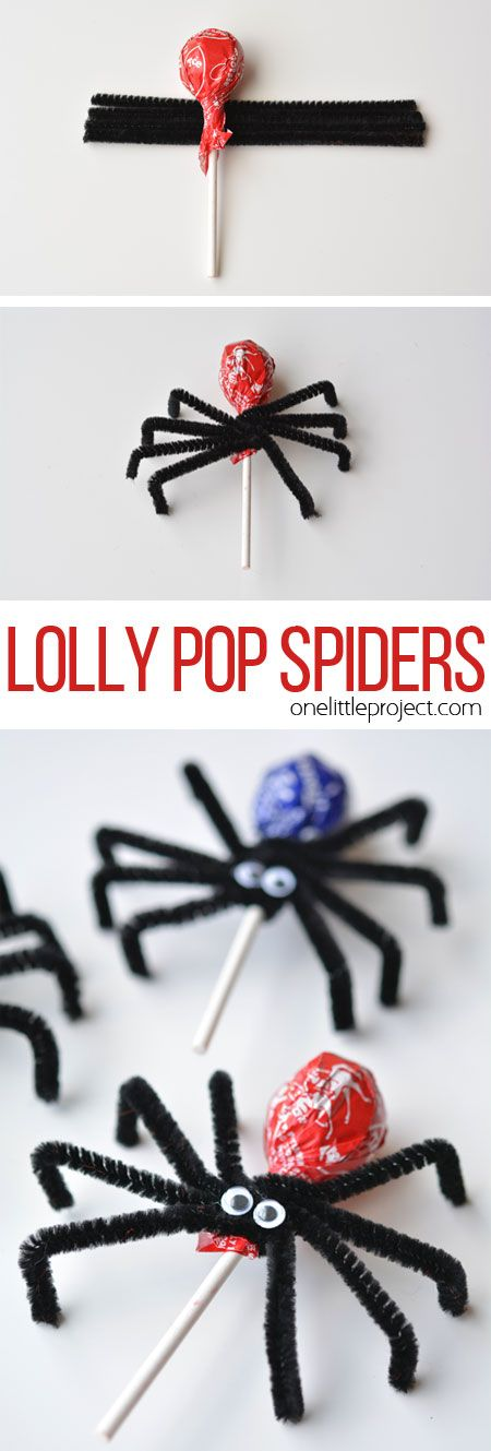 These lolly pop spiders are SO SIMPLE and look adorably creepy! Theyd make great party favours or a fantastic treat to send to