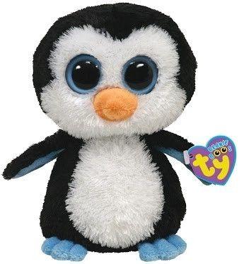 "Ty Beanie Boos Penguin Blue Eyes ""Waddles"" Black White Stuffed Animal Toy |"