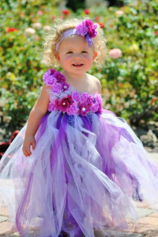 Girl's Long Tutu Dress with Flowers and Headband Flower