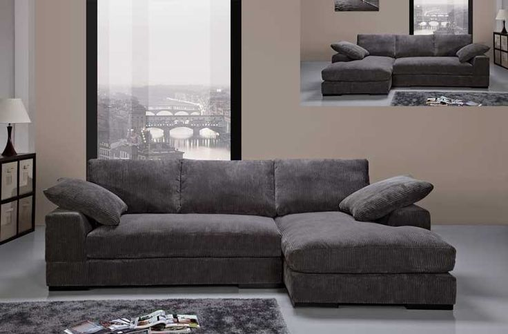 Modern Charcoal Soft Fabric Sectional Sofa Couch Reversible Chaise Small Sectionals