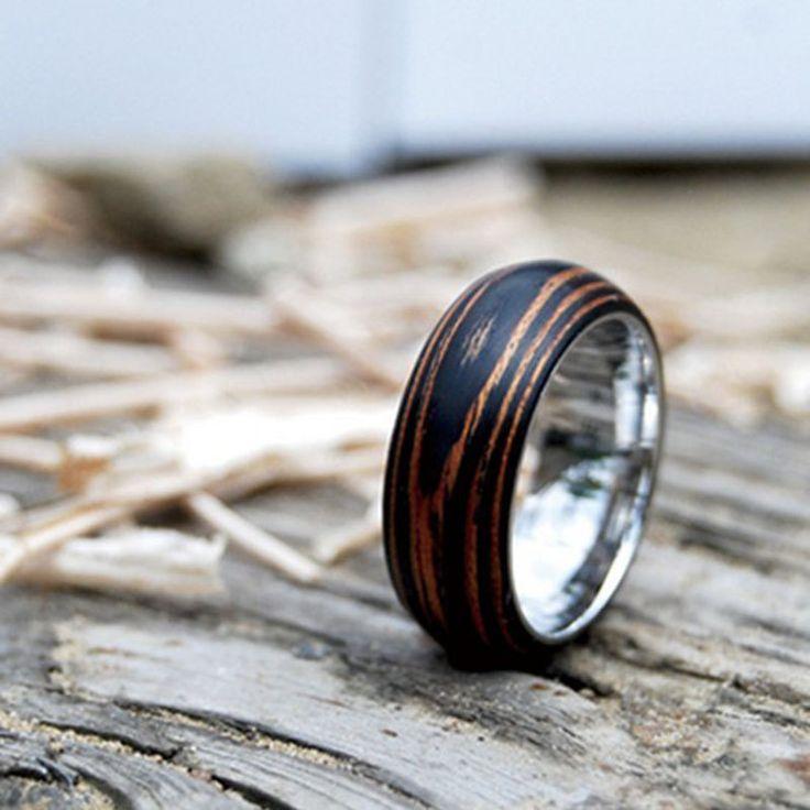 Titanium Wood Wedding Band Ring With Ebony Amp Mahogany By Mrdaeseok 138 00 Pop Up Pinterest