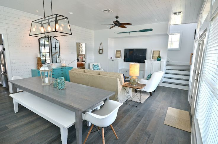 Gorgeous Beach House Living Room With White Beadboard
