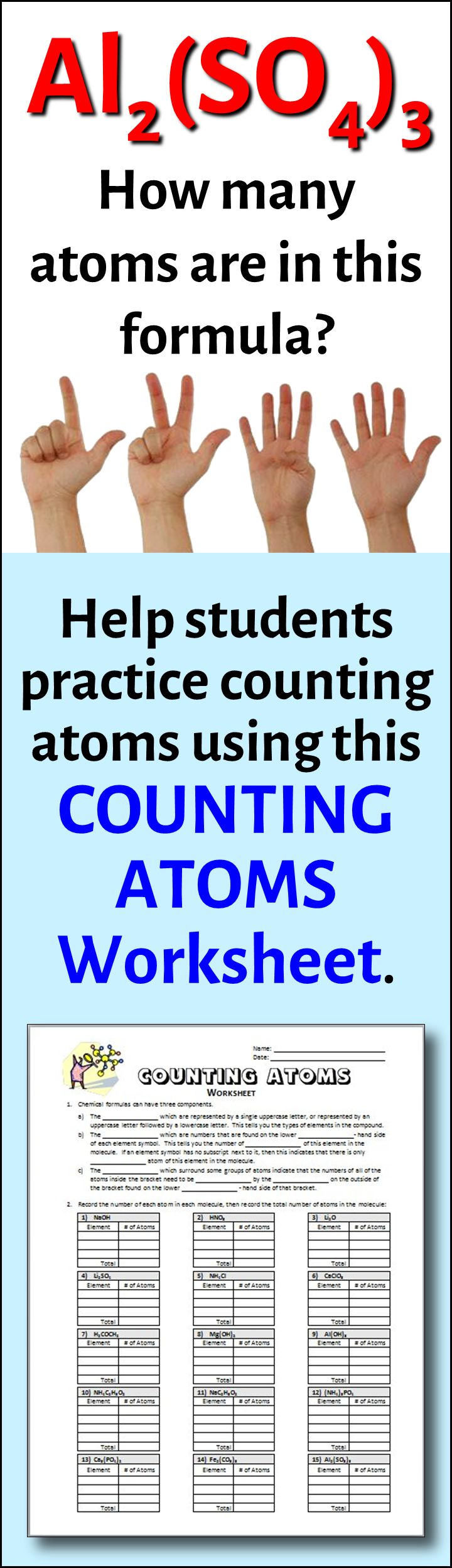 Counting Atoms Worksheet {Editable} Equation, Count and