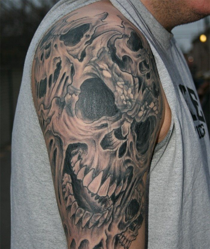 Dragon and Skull Tattoo Designs Skull Tattoos Sleeves