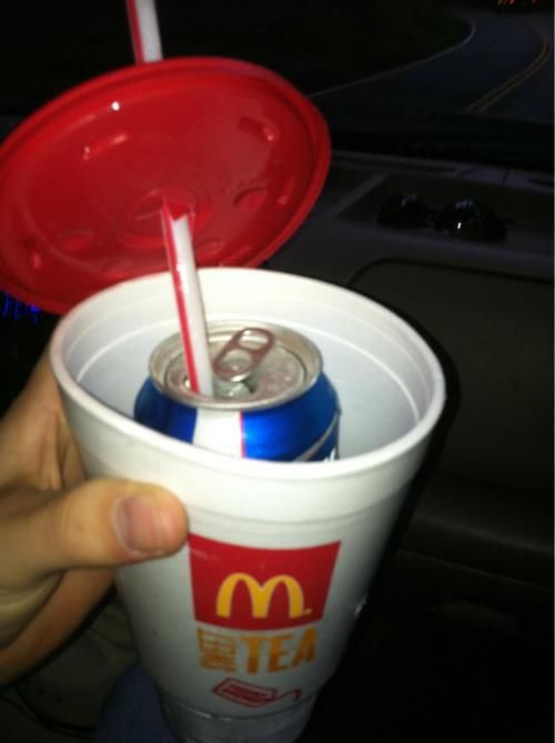 hide beer in cup or a soft drink