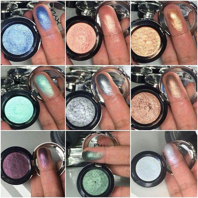 Swatches Of Some Nyx S New Prismatic Single Eyeshadows Colors Shown Are Blue Jeans