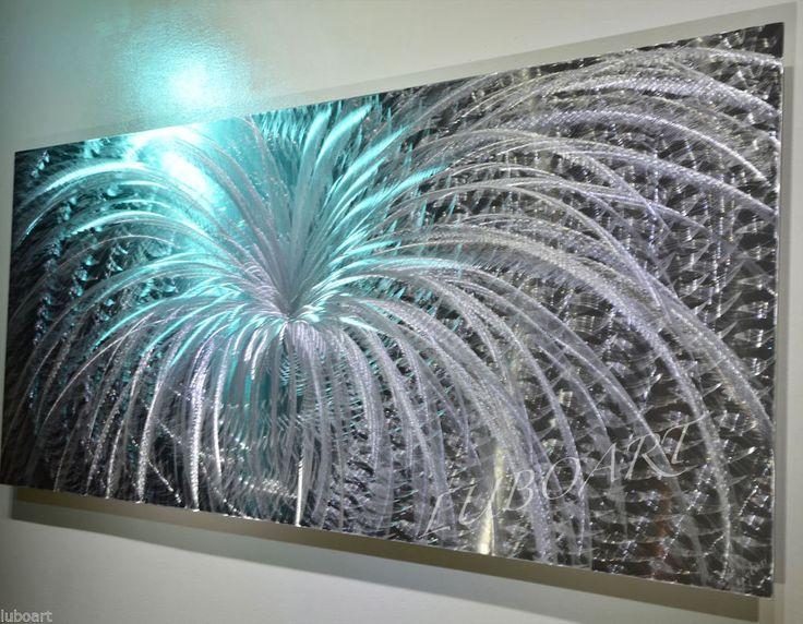 Abstract METAL Art LED Colour Light Reflect Wall Decor