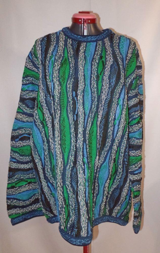 COOGI Sweater Mens Australia Crewneck Blue Cotton Cosby
