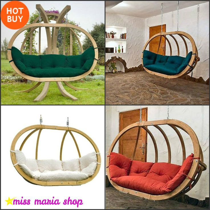 Double Hammock Chair Hanging Swing Seat Green Wooden