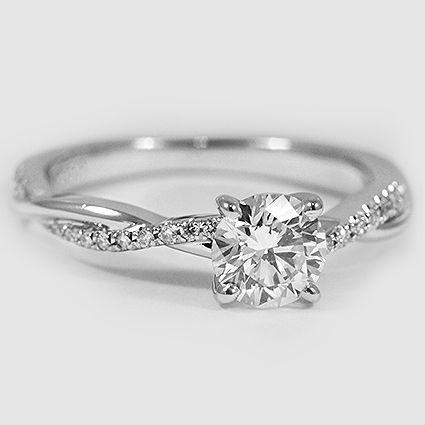 Platinum Petite Twisted Vine Diamond Ring // Set with a 0.57 Carat, Round, Super Ideal Cut, F Color, VS2 Clarity Diamond